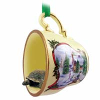 Turtle Tea Cup Snowman Holiday Ornament