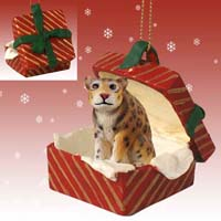 Jaguar Gift Box Red Ornament