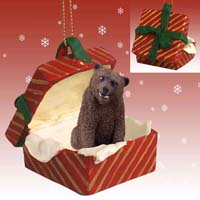 Bear Grizzly Gift Box Red Ornament