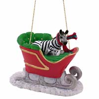 Zebra Sleigh Ride Ornament