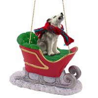 Wolf Gray Sleigh Ride Ornament