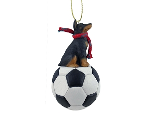 Doberman Pinscher Black  Soccer Ornament