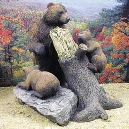 Bear Grizzly w/Cubs & Broken Tree