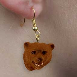 Bear Grizzly Earrings Hanging