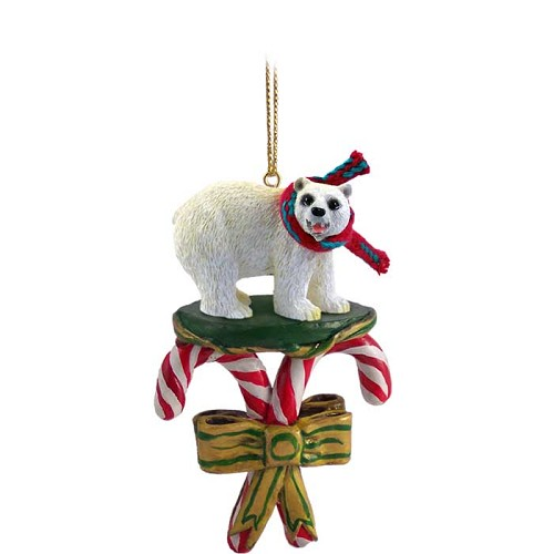 Bear Polar Candy Cane Ornament