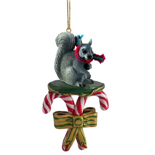 Squirrel Gray Candy Cane Ornament