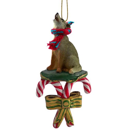 Coyote Candy Cane Ornament