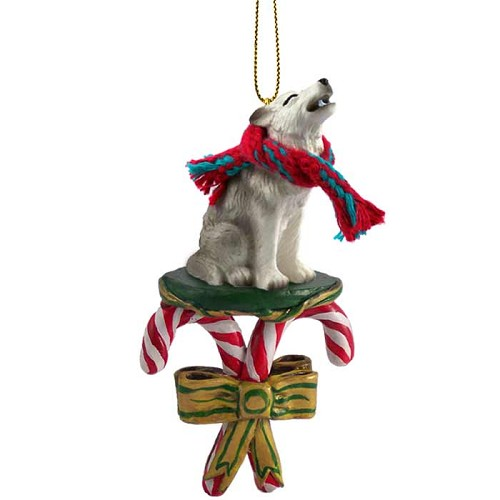 Wolf Gray Candy Cane Ornament